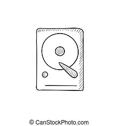Hard disk sketch icon - Hard disk vector sketch icon...