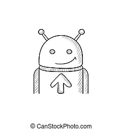 Android with arrow up sketch icon. - Android with arrow up...