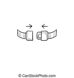 Seat belt sketch icon - Seat belt vector sketch icon...
