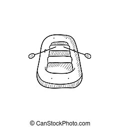 Inflatable boat sketch icon. - Inflatable boat vector sketch...