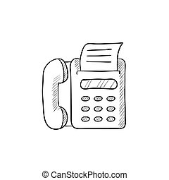 Fax machine sketch icon. - Fax machine vector sketch icon...