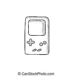 Electronic game sketch icon - Electronic game vector sketch...