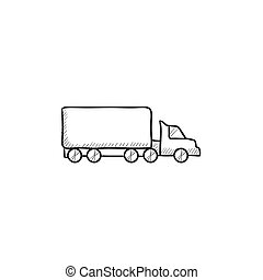 Delivery truck sketch icon - Delivery truck vector sketch...