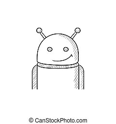 Android sketch icon. - Android vector sketch icon isolated...