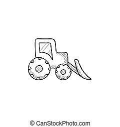Bulldozer sketch icon - Bulldozer vector sketch icon...