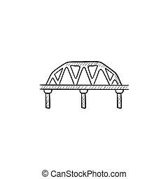 Rail way bridge sketch icon. - Rail way bridge vector sketch...
