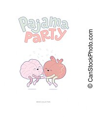 Pajama party poster - Pajama party - the vector outlined...