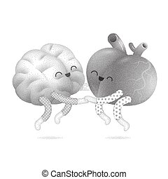 Pajama party - the dotted vector illustration of a brain and...