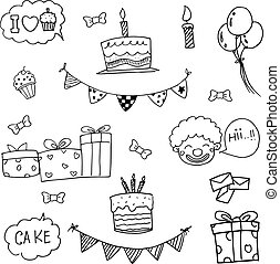 Set party birthday doodle