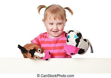 little girl playing theater - studio shot of little girl...