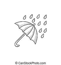 Rain and umbrella sketch icon. - Rain and umbrella vector...