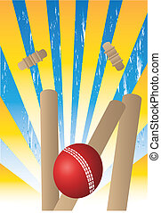 wickets with yellow rays - cricket ball and wickets and rays...
