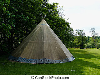 Native American Indian Tipi Tepee Wigwam in beautiful calm...
