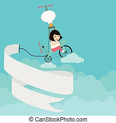 kids girls riding bicycle flying on the sky with text banner