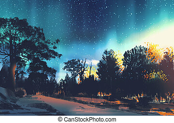night scene landscape - star field above the trees in...