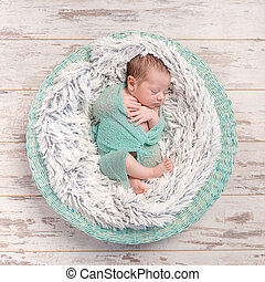 newborn baby peacefully sleeping in round cot with fluffy...