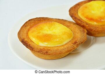 egg custard tart on dish