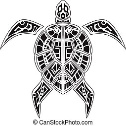 Turtles tattoo for your design - vector illustration of...