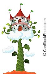 Bean sprout with castle in cloud - vector illustration of...