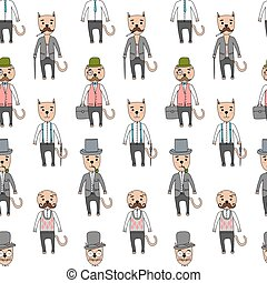 Gentleman cats in hipster accessories - Hand Drawn seamless...