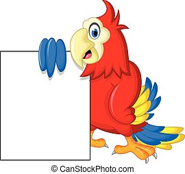 Macaw bird with blank cartoon sign