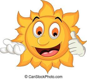 sun cartoon thumb up - vector illustration of sun cartoon...