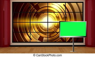 News TV Studio Set- - News TV Studio Set 04 - Virtual Green...