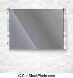 Glass plate with metal frame and bolts Banner of glass and...