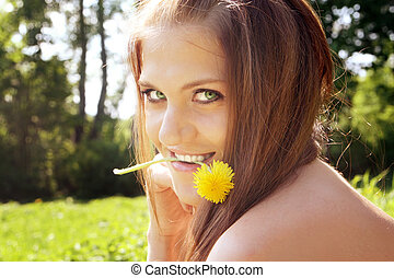 Attractive young hippie girl