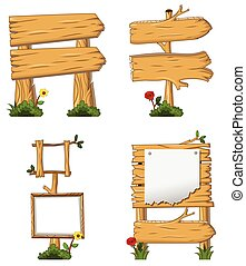 collection woodensign and signboard