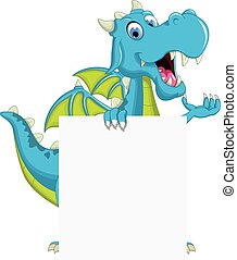 blue dragon cartoon with blank sign