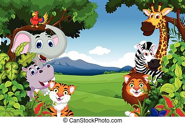 funny animal cartoon with forest - vector illustration of...