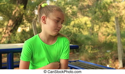 Sad young girl - Portrait of a upset lonely young girl