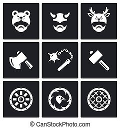 Vector Set of Viking Weapons Icons Head, Man, Helmet, Ax,...