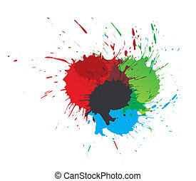 color paint splashes - Set of vector color paint splashes ,...