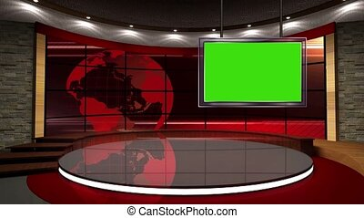 News TV Studio Set- - News TV Studio Set 07 - Virtual Green...
