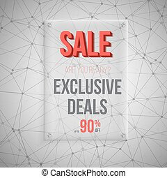 Realistic Vector Glass Plate Template Icon. Big Sale Poster on V