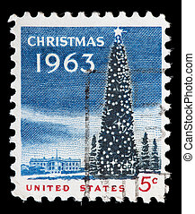 United States used postage stamp showing a Christmas tree -...