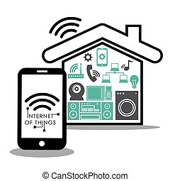 Internet of things. Online icon. Flat illustration , vector...