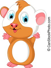 happy fat hamster cartoon posing - vector illustration of...