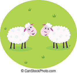 Two white sheep - Stylized vector illustration of two white...