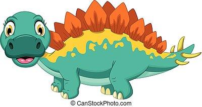 cute stegosaurus cartoon posing - vector illustration of...