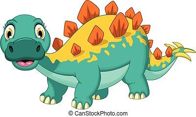 funny stegosaurus cartoon posing - vector illustration of...