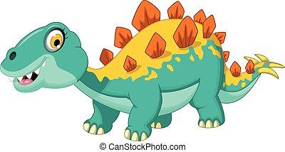 stegosaurus cartoon - vector illustration of stegosaurus...