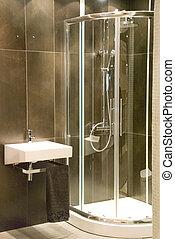 modern bathroom - modern black bathroom with shower
