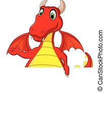 red dragon cartoon with blank sign