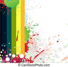 Colourful bright ink splat design with a white background....