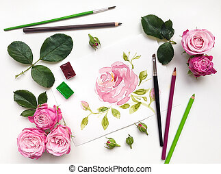Colorful composition with roses and painting accessories....