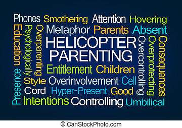 Helicopter Parenting Word Cloud on Blue Background