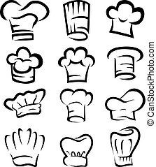 collection of chef hat cartoon